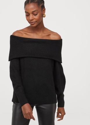 Чёрная кофта свитер с открытыми плечами h&m