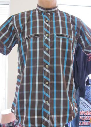 Рубашка мужская летняя, короткий рукав, воротник стойка, код 1...
