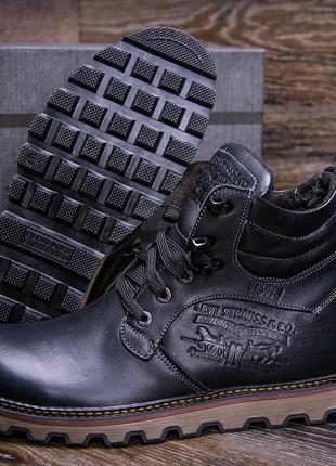 Зимние кожаные ботинки на натуральном меху Levis