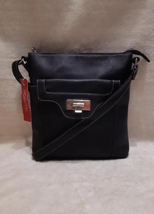 Новая с этикеткой чёрная наплечная сумка через плечо rosetti