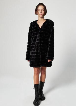 Jennyfer шуба под норку шубка куртка капюшон пальто меховая je...