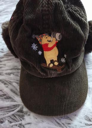Кепка зимняя на флисе и меху, детская шапка кепка disney