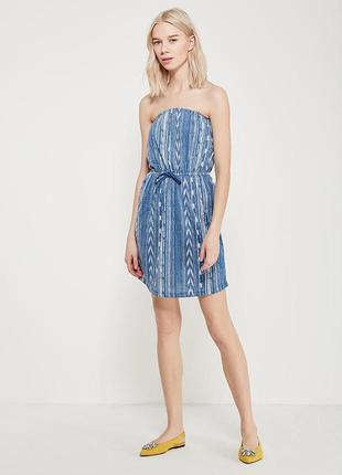 Короткое платье colin's, летний сарафан, платье-бандо с открыт...