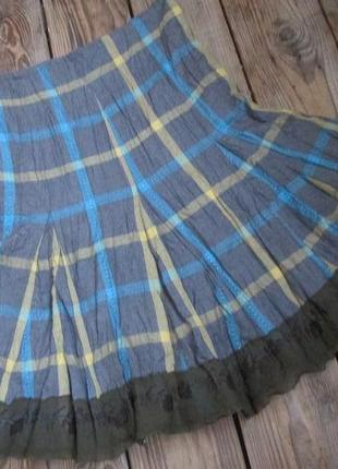 Плиссированная юбка на хлопковом подкладе, р. xs, интересная о...