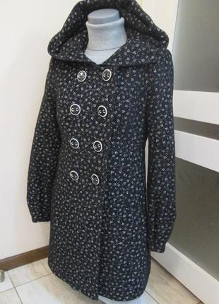 Зимнее шерстяное пальто с капюшоном, 100% шерсть, размер xs s