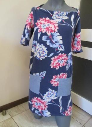 Стильное трикотажное платье gap р. xs-s актуальный цветочный п...