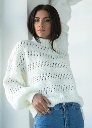 Свитер с ажурным узором, жіночий стильний светр