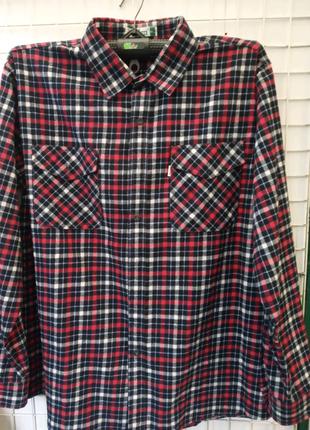 Рубашка мужская в клетку байка фланель 2накладных кармана
