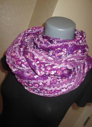 Легкий шарф, шаль, платок разноцветный, плиссированный, состоя...
