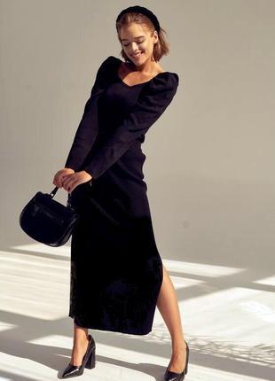Классическая базовая  модель  деловой   черной  миди юбки