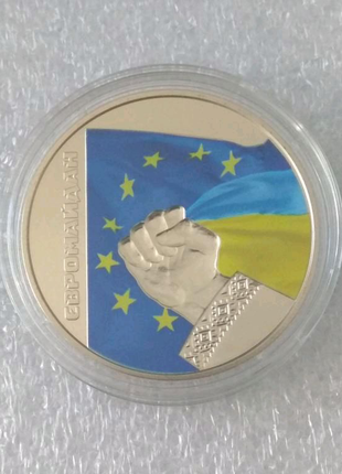 Красивая монета 5 грнивень 2015 Євромайдан