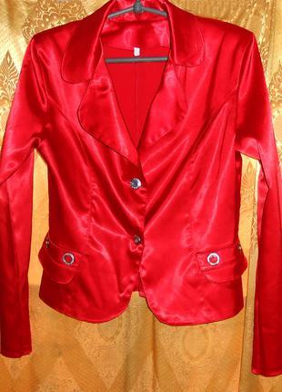 Пиджак красный атласный, 44-46-48р