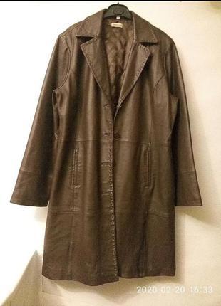 100 ,% кожа батал новое пальто тренч из кожи шоколад 46 евро