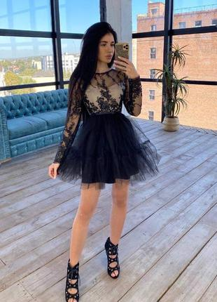 Платье с пышной фатиновой юбкой черный