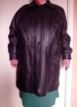 Женская теплая кожаная куртка