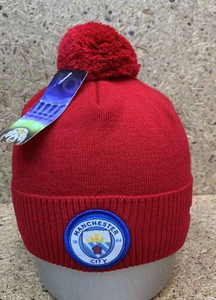 Разн. цвет-Теплая шапка с бубоном Manchester City/Манчестер Сити