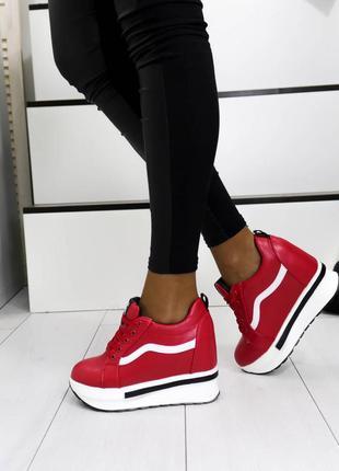 Кроссовки кожаные красные, кроссовки на платформе, кроссовки н...