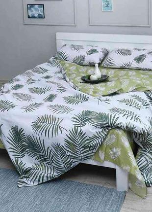 Комплект постельного белья пальмовые листья двуспальное евро