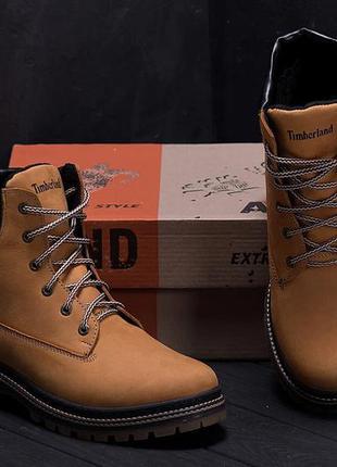 Мужские зимние кожаные ботинки timderlend crazy shoes limone new