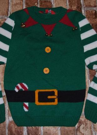 Кофта свитер вязка 7 - 8 лет сток мальчику новогодний