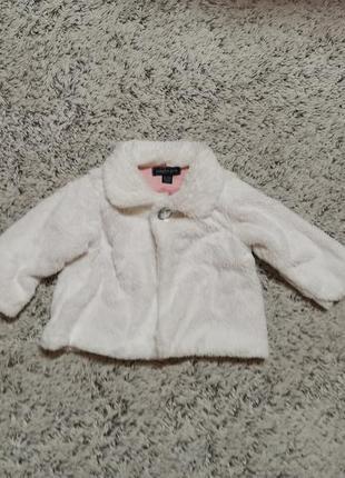 Белая меховая кофта, шубка, девочке на 6-12 месяцев