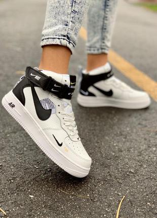 Nike af1 utility white high женские кожаные кроссовки белого...
