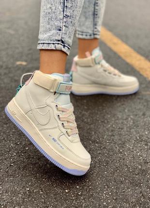 Nike af1 utility cream high женские кожаные кроссовки кремового