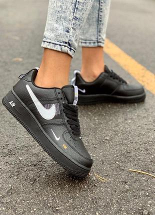 Nike af1 utility black low женские кожаные кроссовки черного...