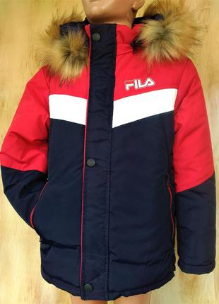 Зимняя стильная парка куртка на мальчика на овчине 7,8,9,10,11...