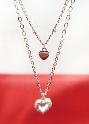 Серебряная цепочка колье с кулоном сердце серебро 925 пробы