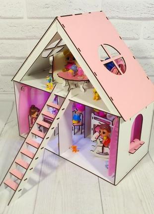 Кукольный домик с мебелью для куколок Лол и др. до 20см