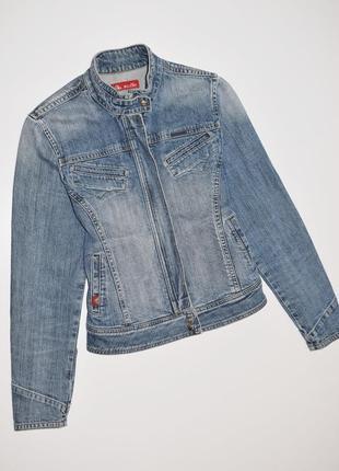 Женская джинсовка, джинсовая куртка, джинсовый пиджак с потерт...