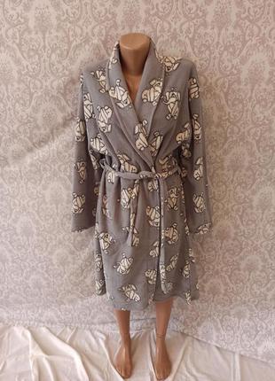 Теплый флисовый женский халат средней длинны турция, теплые фл...