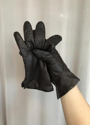 Классические зимние тёмно бордовые кожаные перчатки вишнёвые р...