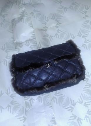Сумка шанель кожа и мех натуральный Chanel