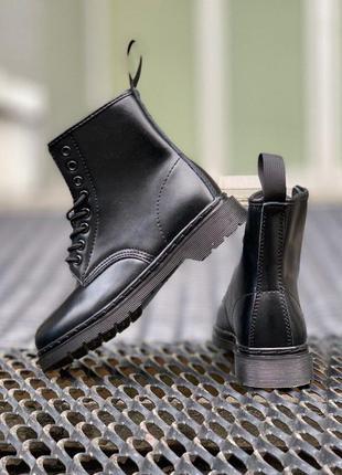 Шкіряні зимові черевики dr. martens 1460 mono black хутро кожа...