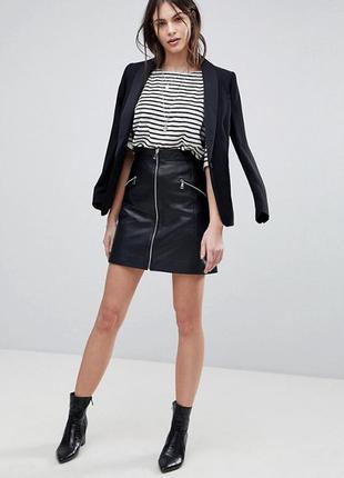Кожаная натуральная мини юбка черная кожа на молнии с молнией
