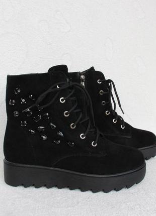 Зимние кожаные, замшевые ботинки 39 размера