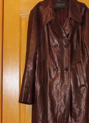 Женская кожаная удлиненная куртка пиджак. River Island.