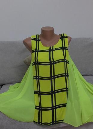 Уникальная стильная яркая блуза туника в клетку длинная