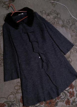 Шерстяное,валяное,асимметричное пальто воланом,карманами,бохо,...