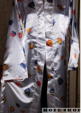 Принтованный длинный атласный халат,кимоно (без пояса)46/52 .р...