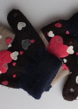 Рукавицы синие с сердечками варежки двойные на 2 - 3 года