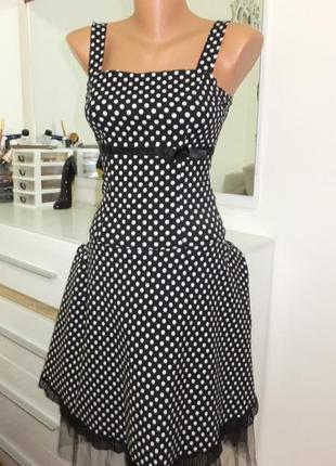 Платье в горошек в стиле 50-х годов ретро винтажное casual ele...