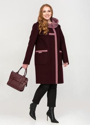 Женское демисезонное винное пальто с капюшоном