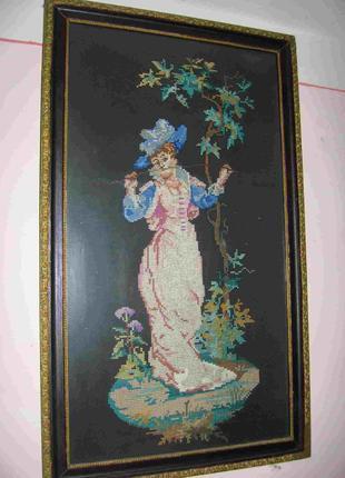 """Картина """"Девушка с деревом"""" (ручная вышивка). 1957-й год."""