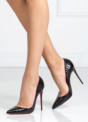 Черные женские туфли лодочки кожа рептилии на шпильке высокий ...