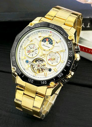 Наручные часы Forsining 6913 Gold-Black-White