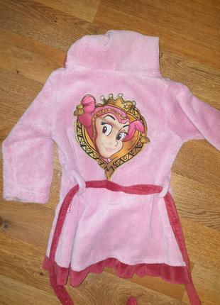 Детский халат махровый розовый