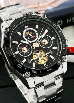 Наручные часы Forsining 6913 Silver-Black